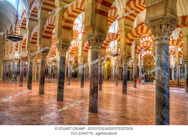 HDR of the interior of the Mosque-Cathedral of Córdoba, Córdoba, Spain