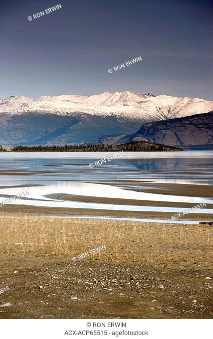 Mud flats at the edge of Kluane Lake in the Ä'äy Chù (Slim's River) Valley, in Kluane National Park and Reserve, Yukon, Canada