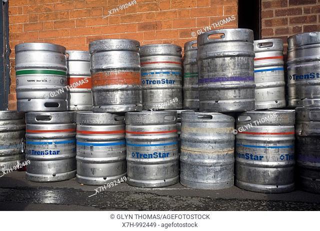Empty beer kegs outside a pub