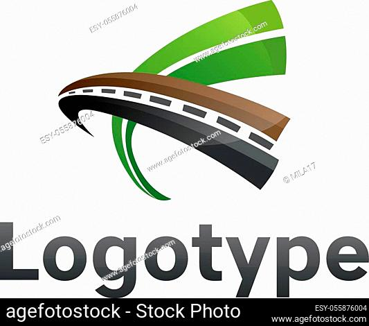 Logotype transportation, road in green color. Road maintenance. Logo road repair