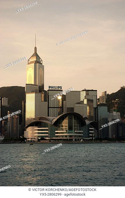 Convention Centre and Victoria harbour, Hong Kong,