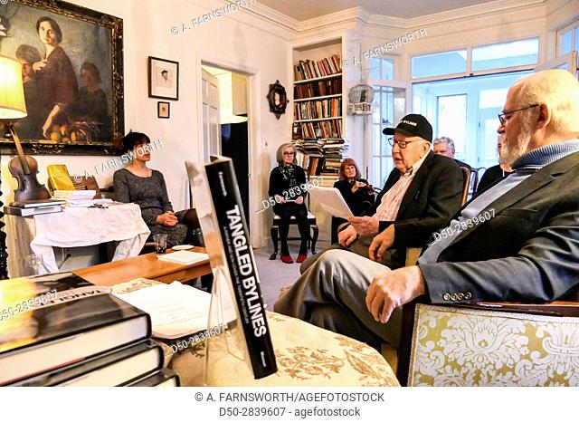 WASHINGTON DC USA memoirs. Book release party for famous journalist, CLyde Farnsworth and the book 'Tangled Bylines. '