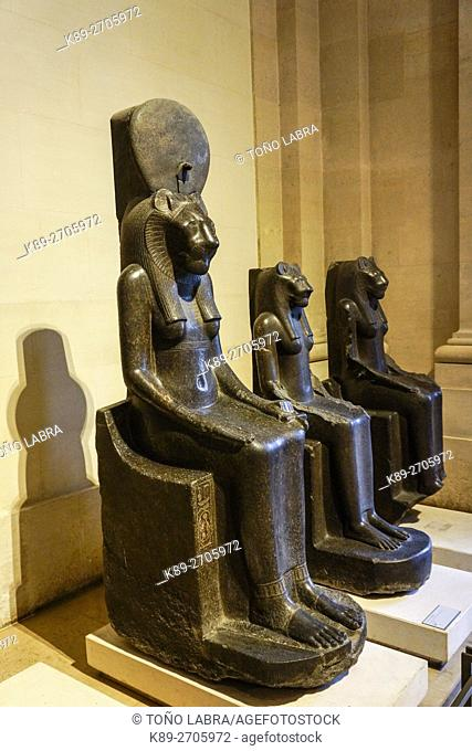 Statues of Goddess Sekhmet. Egyptian Pharaonic collection. Louvre Museum. Paris. France