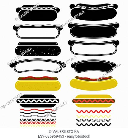 Set of Different Hot Dogs Isolated on White Background