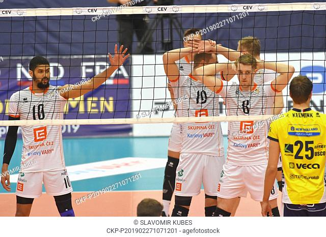 L-R Jalen Penrose, Marek Zmrhal, Trent O'Dea (all Karlovy Vary) and Wessel Keemink (Modena) in action during the 6th round group B of volleyball Champions...