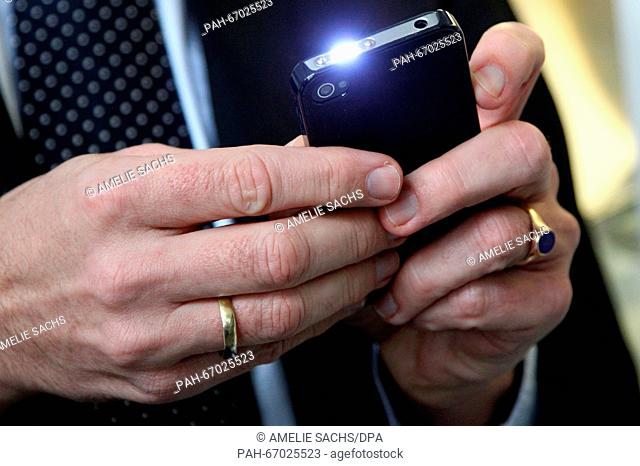 A stun gun that resembles a smartphone is on display at the weapons museum of the State Office of Criminal Investigations, in Munich, Germany, 02 March 2016