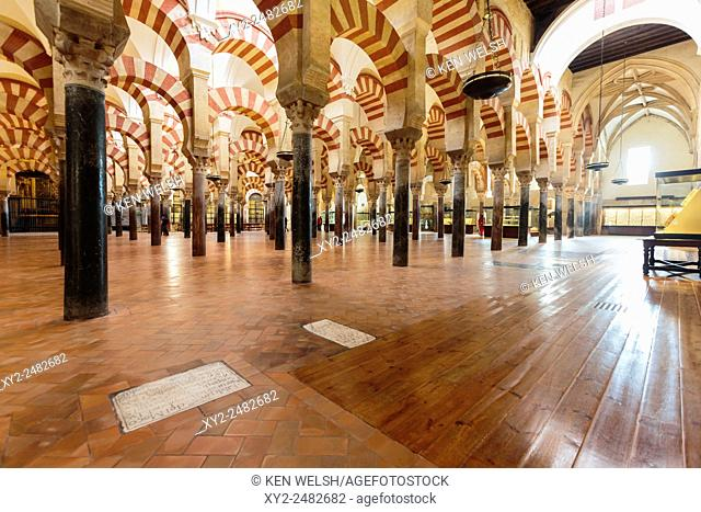 Cordoba, Cordoba Province, Andalusia, southern Spain. Interior of the Great Mosque, La Mezquita. The Mosque of Cordoba is a UNESCO World Heritage Site