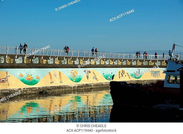 Na'Tsa'Maht, The Unity Wall Mural, Ogden Point Breakwater, Victoria, British Columbia, Canada. Coast Salish, art, designs