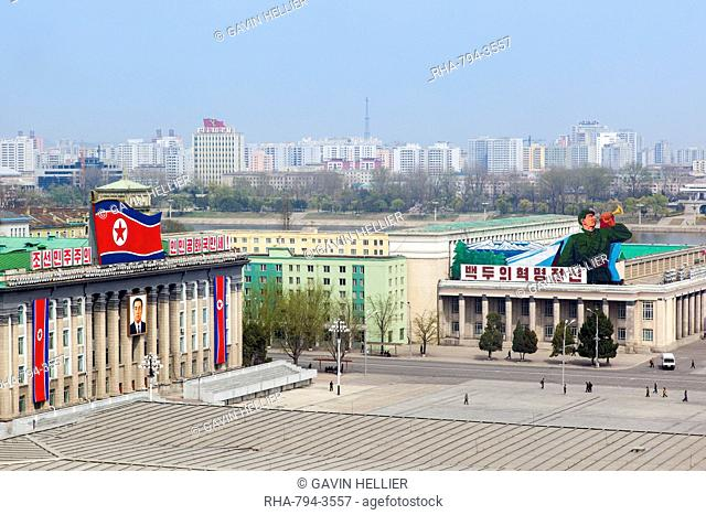 Elevated view over Kim Il Sung Square, Pyongyang, Democratic People's Republic of Korea DPRK, North Korea, Asia