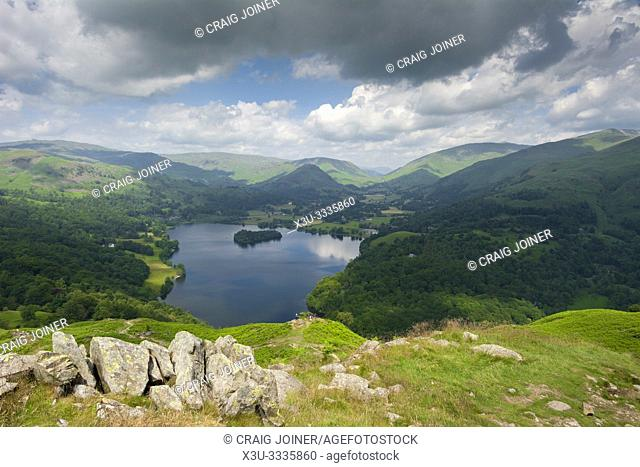 Grasmere lake from Loughrigg Fell in the Lake District National Park, Cumbria, England
