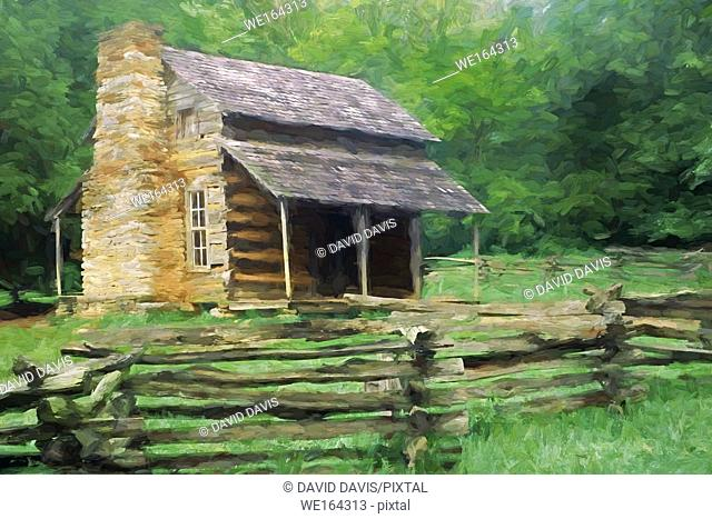 Impressionistic Art of the John Oliver Place in Cades Cove, Great Smoky Mountains National Park, Tennessee, United States