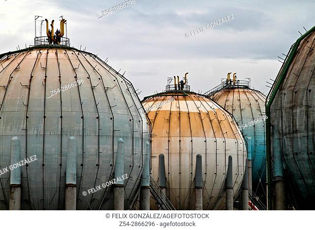 Butane gas tanks, ditribution plant at Campa Torres, El Musel port Gijón, Asturias, Spain
