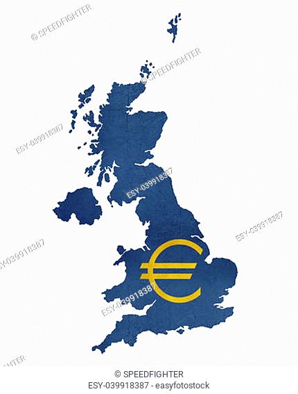 European currency symbol on map of United Kingdom isolated on white background