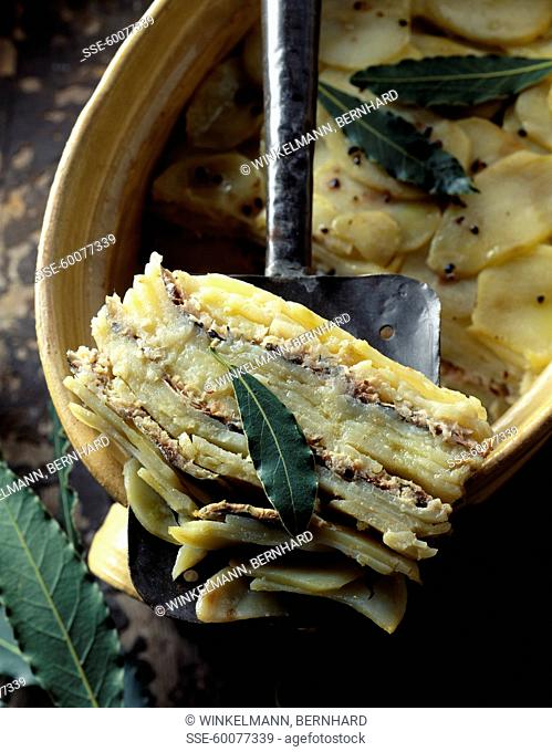 potato and sardine baked gratin