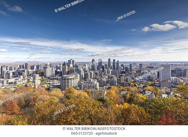 Canada, Quebec, Montreal, elevated city skyline from Mount Royal, autumn