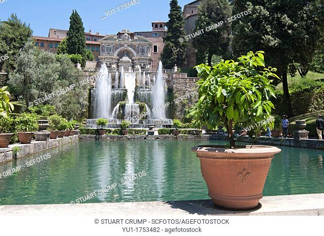 The Renaissance Gardens of the Villa d'Este, Tivoli, near Rome, Italy, Europe
