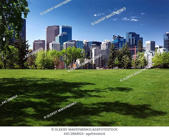 Calgary city downtown skyline sunny summer day scenery from Sunnyside Bank city park. Calgary, Alberta, Canada 2017