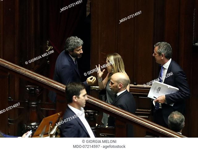 Italian politicians Roberto Fico e Giorgia Meloni during the vote for the security decree bis in the Chamber of Deputies
