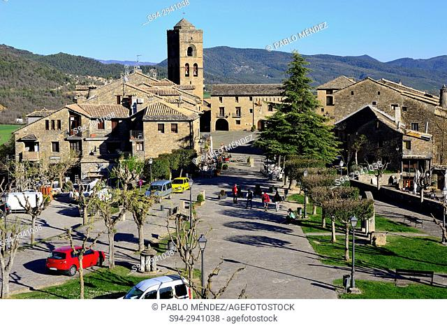 View of the old town of Ainsa, Huesca, Spain
