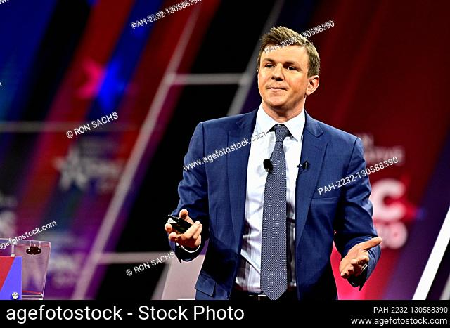James O'Keefe, Project Veritas, speaks at the Conservative Political Action Conference (CPAC) at the Gaylord National Resort and Convention Center in National...