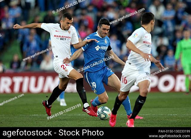 Getafe, Spain; 23/02/2020.- Football Soccer of La Liga spanish match 25 2019-2020, Getafe FC against Sevilla held at the Coliseum Alfonso Perez, in Getafe