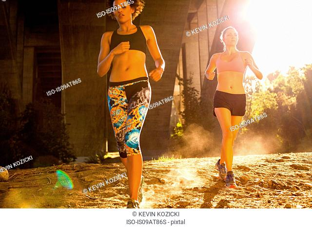 Joggers running under arch bridge, Arroyo Seco Park, Pasadena, California, USA