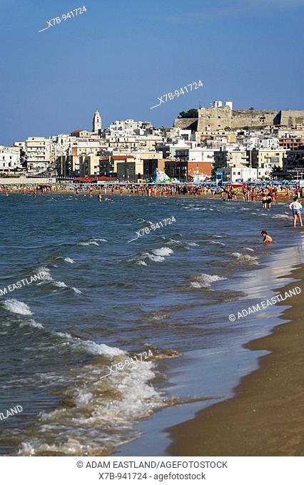 Vieste  Puglia  Italy  Gargano Region  Sandy beaches & the town of Vieste