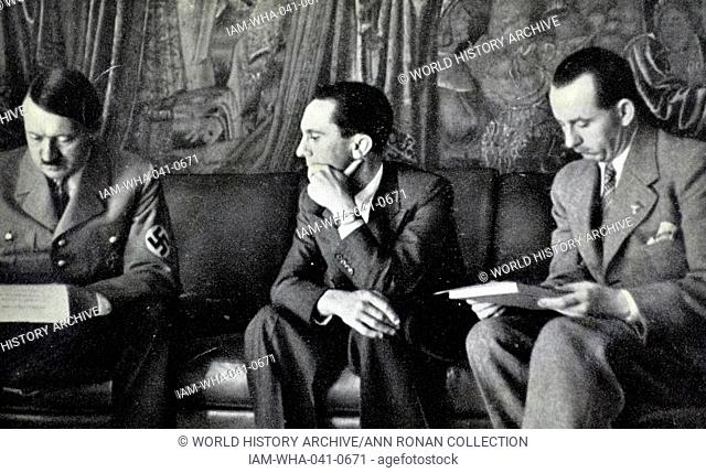 Adolf Hitler with Josef Goebbels and Otto Dietrich, the Third Reich's Press Chief