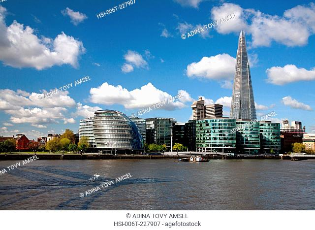 England. London. City Hall with the Shard building by the River Thames