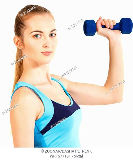 Sporty woman with blue barbells