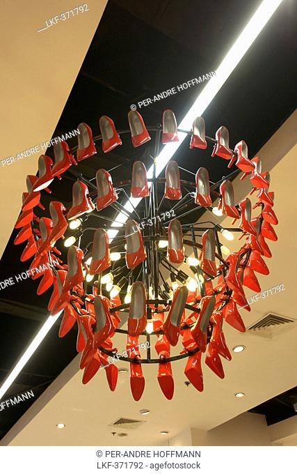 High heels chandelier, Landmark Shopping Mall, Makati City, Manila, Luzon Island, Philippines