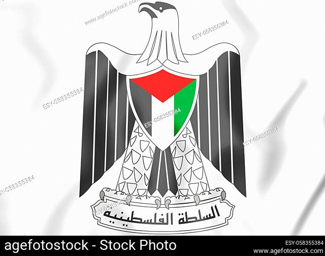 Palestinian National Authority coat of arms. 3D Illustration