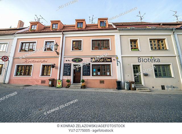 houses at Svobody Street in Mikulov town, Moravia region, Czech Republic