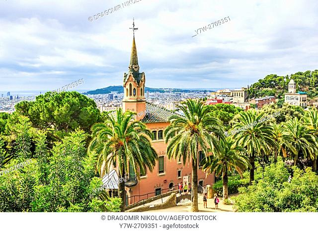 Park Guell, a garden with architectural elements designed by Antoni Gaudi. Built in 1900 - 1914. Part of UNESCO World Heritage