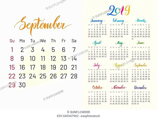 Colorful planner, 2019, Semptember separately, white-blue background, lettering, artboard. Stylish annual calendar for modern people