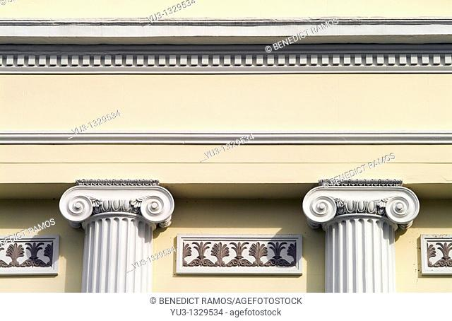 Detail of Regency house showing Ionic columns, Pittville Lawn, Cheltenham, Gloucestershire, England, UK