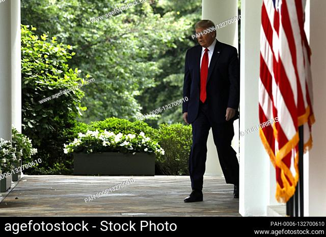 United States President Donald J. Trump arrives to deliver remarks on China in the Rose Garden at the White House in Washington, DC on May 29, 2020