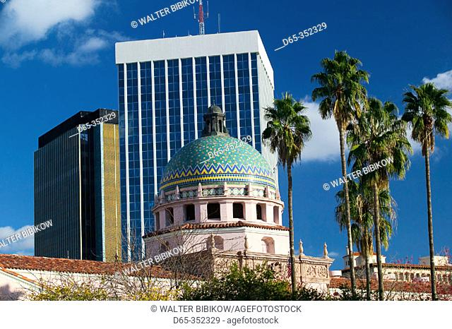 Pima County Courthouse and Bank of America building in downtown Tucson. Arizona, USA
