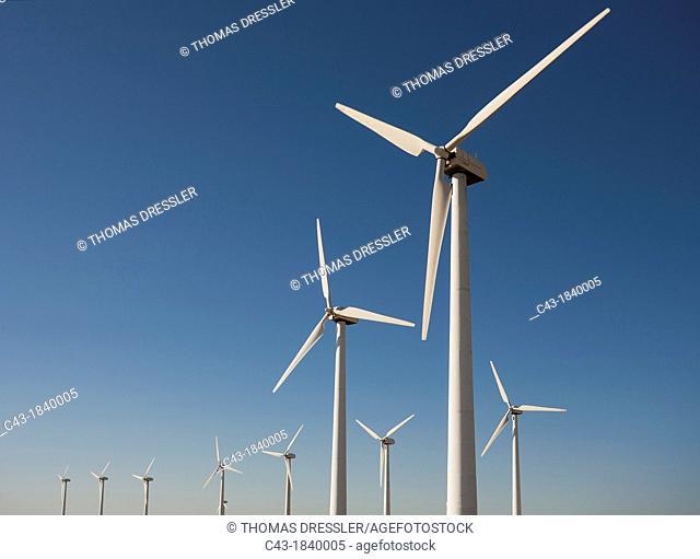 Windmills on a wind farm near Tarifa  Cádiz province, Andalucía, Spain