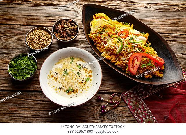 Chicken Biryani indian recipe with white soup and spices