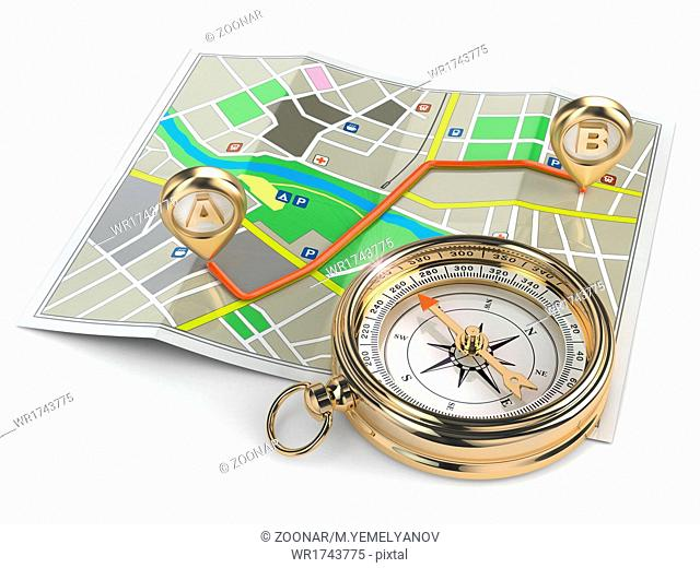 Navigation and gps concept. Compass and map
