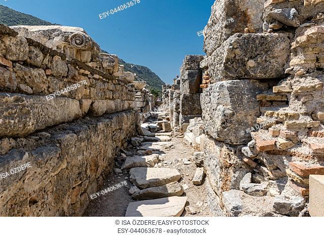 General view of marble Ruins in Ephesus historical ancient city, in Selcuk,Izmir,Turkey