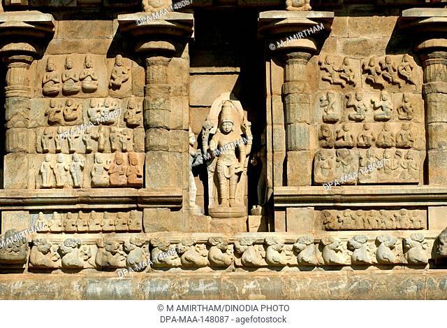 11th century statue on the exterior wall ; Brihadishvara temple ; Gangaikonda Cholapuram ; capital of the Cholas ; temple of Shiva ; Tamil Nadu ; India