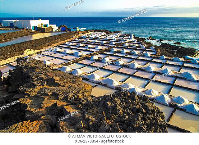 salt lakes in Fuencaliente municipality . La Palma island . Canary islands . Spain