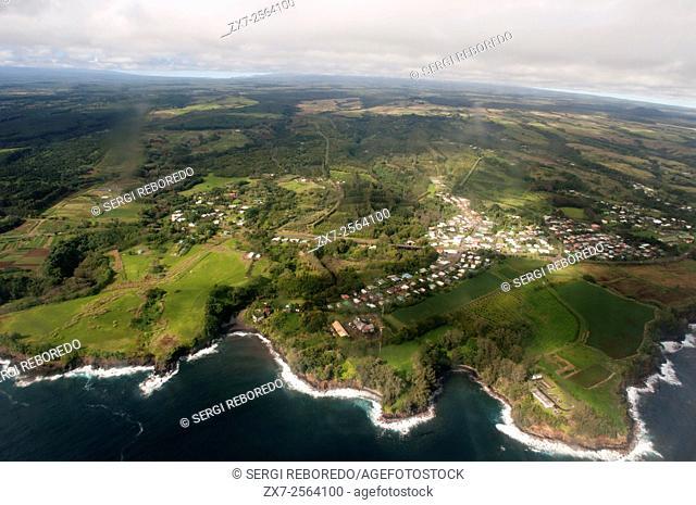 Aerial view. North Kohala, Big Island of Hawaii. Pololu Valley, North Kohala, Big Island of Hawaii. The coast of the Big Island of Hawaii North of Hilo
