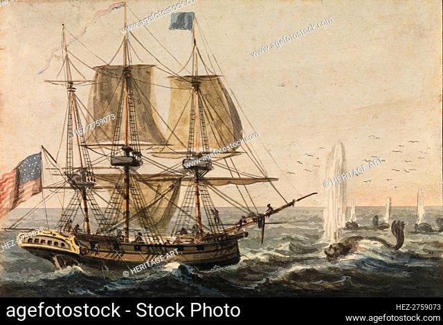 Replenishing the Ship's Larder with Codfish off the Newfoundland Coast, 1811-ca. 1813. Creator: Pavel Petrovic Svin'in