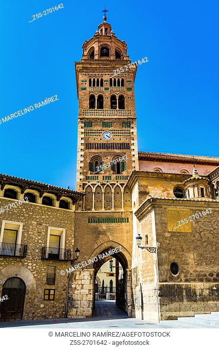 Mudejar tower of Cathedral Santa Maria de Mediavilla, Teruel. Aragon, Spain. Europe