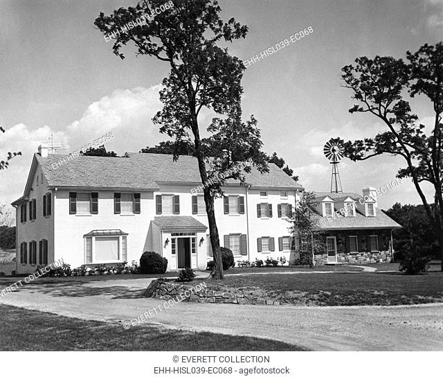 President Eisenhower's main house at his Gettysburg farm. June 3, 1955. The building was renovated from 1953-55 at a cost of $250