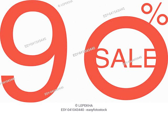 90 OFF Discount Sticker. Sale Red Tag Isolated Vector Illustration. Discount Offer Price Label, Vector Price Discount Symbol