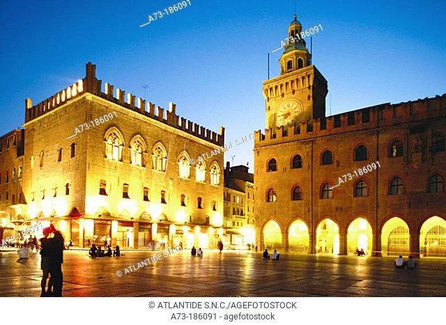 View of Piazza Maggiore, with Palazzo dei Notai and Palazzo Comunale (Town Hall). Bologna. Italy